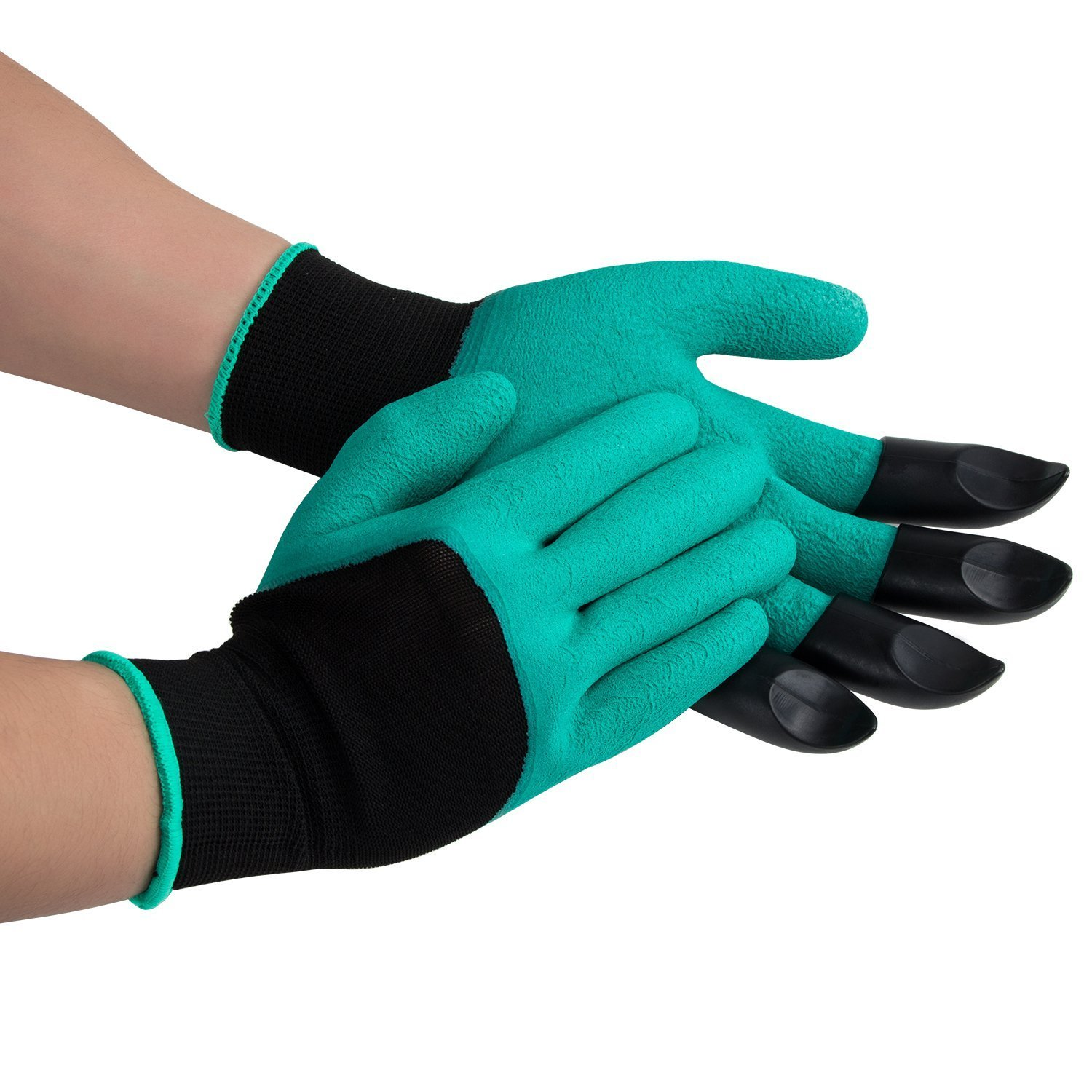 Garden Digging Gloves Claw Tools - QIYAT Garden Genie Gloves with Fingertips Uniex Claws on Left Hand Quick Easy Dig Plant Safe for Pruning - As Seen On TV