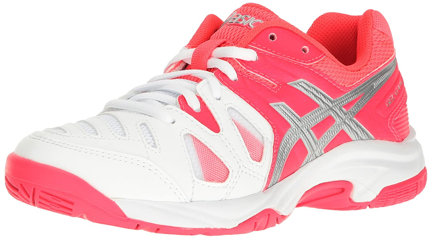 Asics Gel Game 5 Junior Tennis Shoe White/Pink/Silver