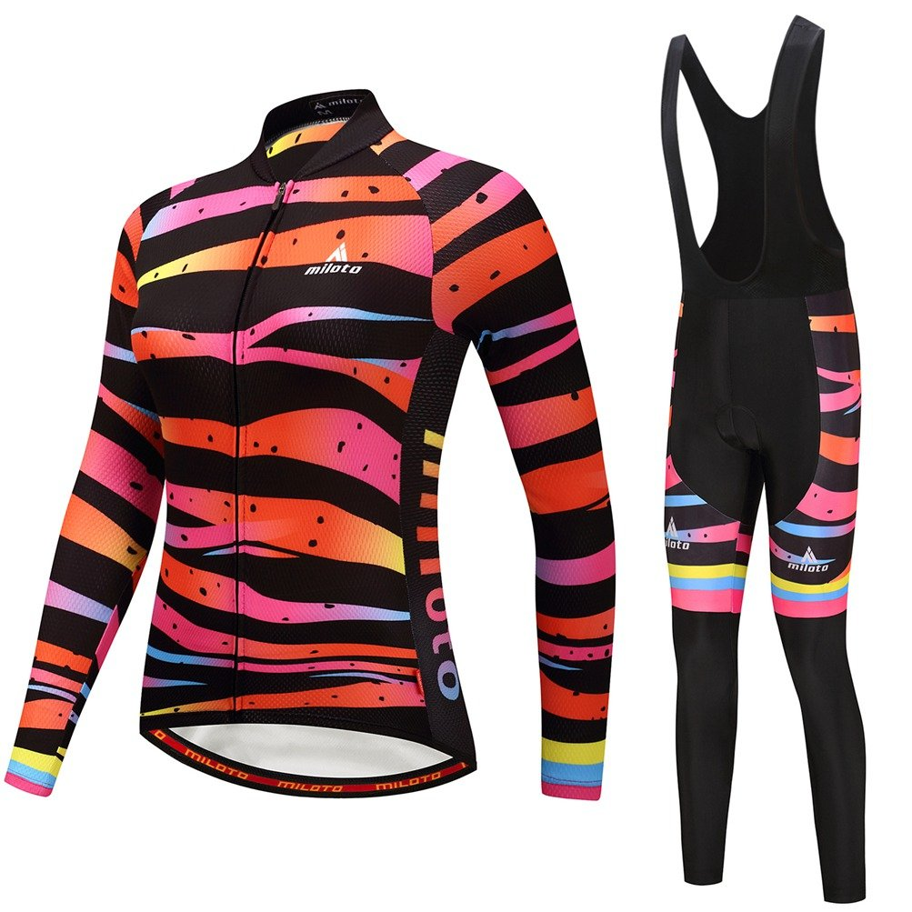Uriah Women 's Cycling Jersey andブラックBibパンツ熱フリースセット長袖反射 B077Z3QRR6 Chest 38.5''=Tag L|Zebra Lines Zebra Lines Chest 38.5''=Tag L