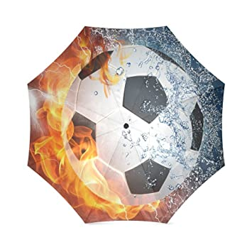 Fuego y Agua fútbol Auto paraguas poliéster Pongee impermeable compacto paraguas