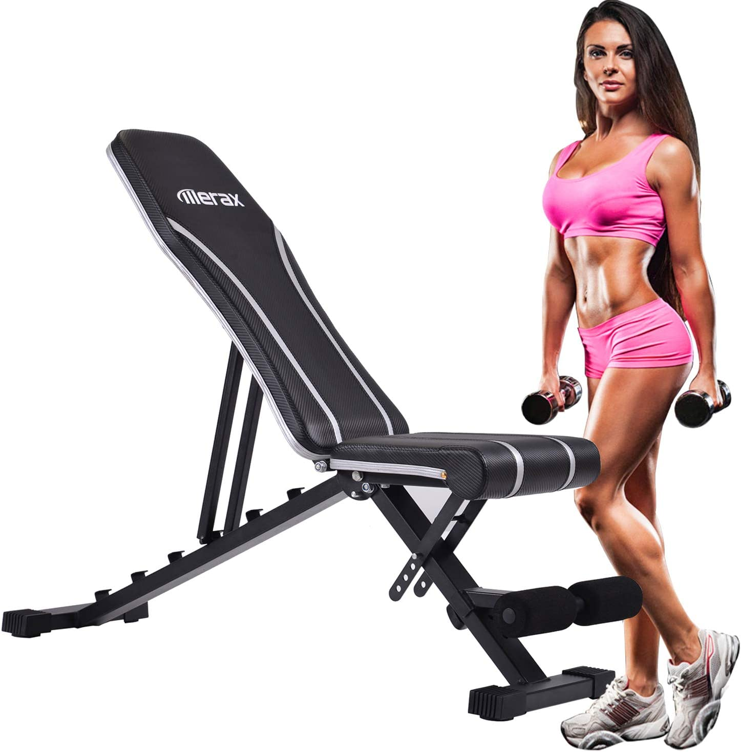 Norcia Adjustable Weight Bench, Foldable Heavy-Duty Workout Bench, Utility Exercise Bench Suitable for Dumbbell Bench Press, Sit-Ups, Shoulder Press, Dips, Etc