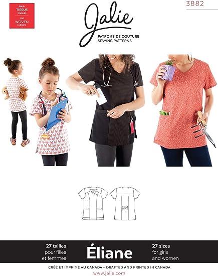 JALIE 3882 Sewing Pattern for Children /& Adults /ÉLIANE Scrub Top