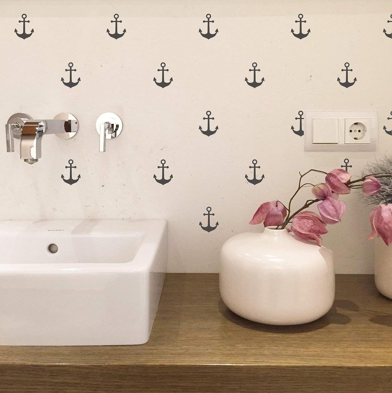 Wandaufkleber Set mit kleinen Ankern je 60mm H/öhe Wandtattoo Wandsticker Sticker Wanddeko Maritim Kinderzimmer Badezimmer Fliesen