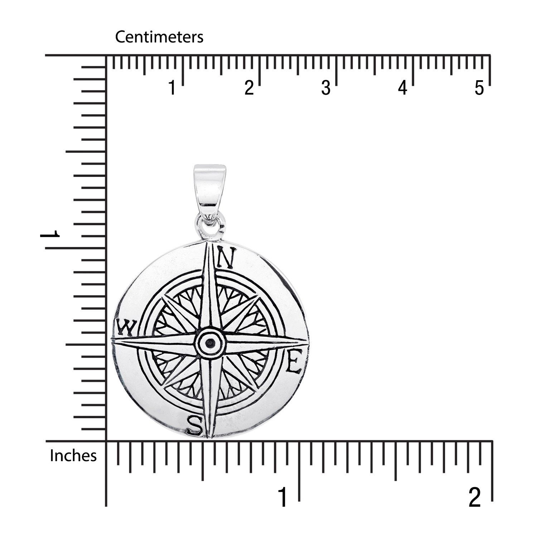 Plata de Ley 925/Ronda Br/újula sistrakno dispositivo para navegaci/ón Direcci/ón Geogr/áfica Norte sur oeste Oriental colgante