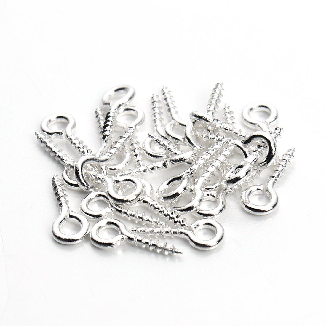 Linsoir Beads 200pcs Sturdy Metal Tiny Screw Eyes Pin Bail Peg Antique Bronze Tone 5X12mm