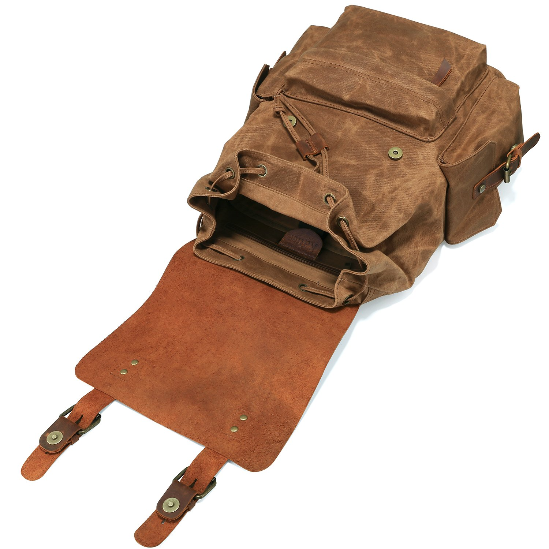 537705aaa9 Kattee Sac à Dos Toile Cuir Vintage Homme pour PC Portable 15.6