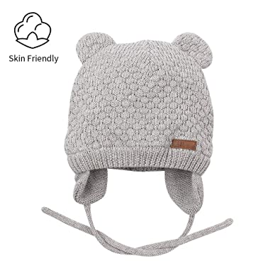 6926540551033 RAOEXI Baby Beanies Winter Warm Toddler Boys Girls Earflap Hat Infant Knit Caps  Cute Bear Cotton