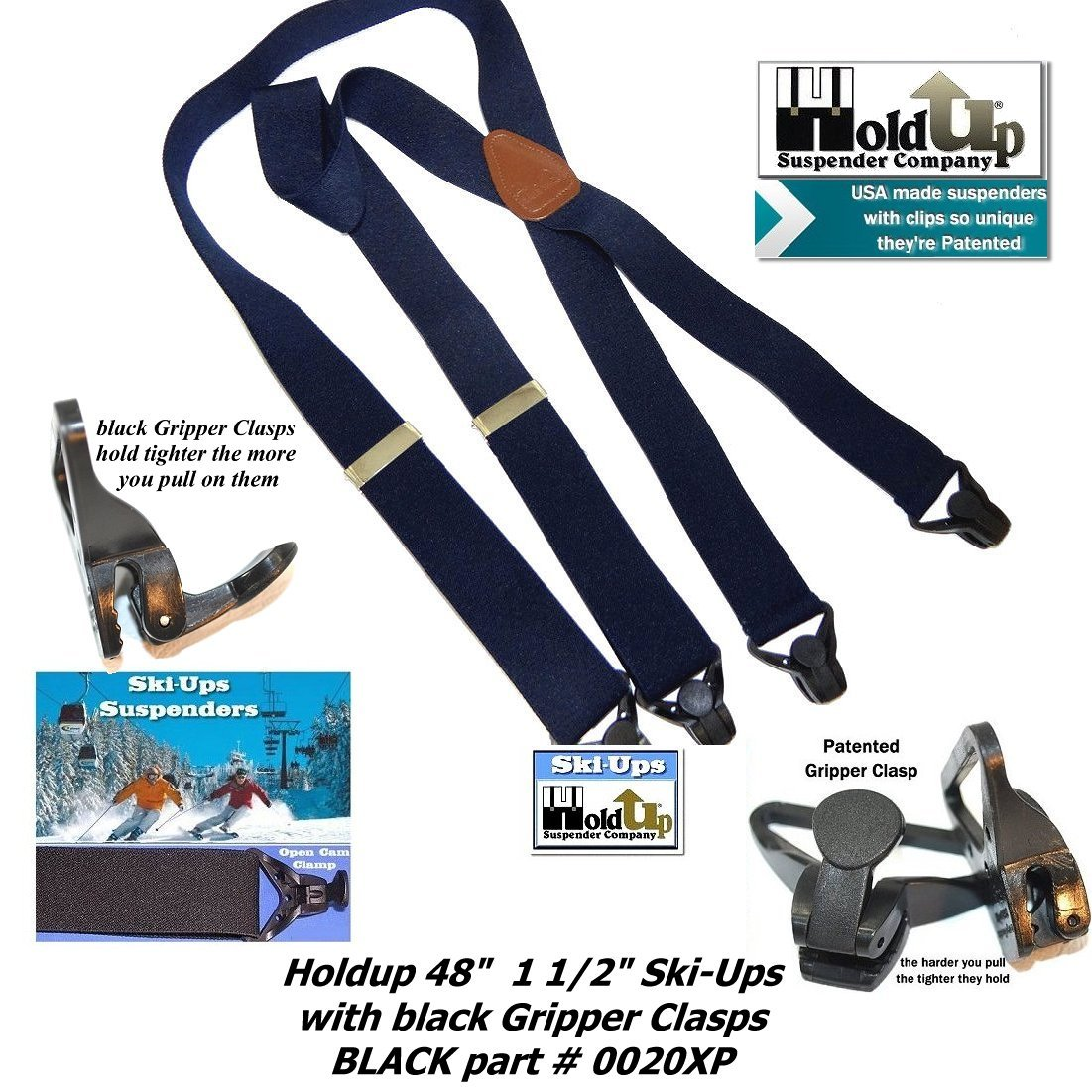 HoldUp All Black Snow Ski-Ups Suspenders in 1 1/2'' width with Patented black Gripper Clasps in X-back style by Hold-Up Suspender Co. (Image #2)