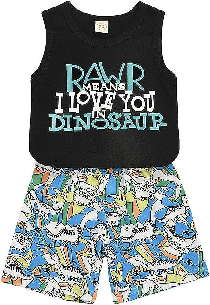 Urbling Baby Boys Sleeveless Top+Shorts Sets 0-3 Years Kids Summer Cute Cartoon Tank Vest Dinasaur Print Pants 2PCS Outfits