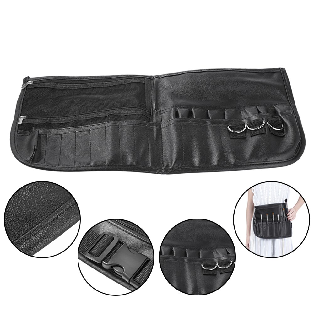 3c021b95600b Professional Cosmetic Makeup Brush Bag 22 Pockets PU Leather Makeup Apron  with Artist Brush Belt