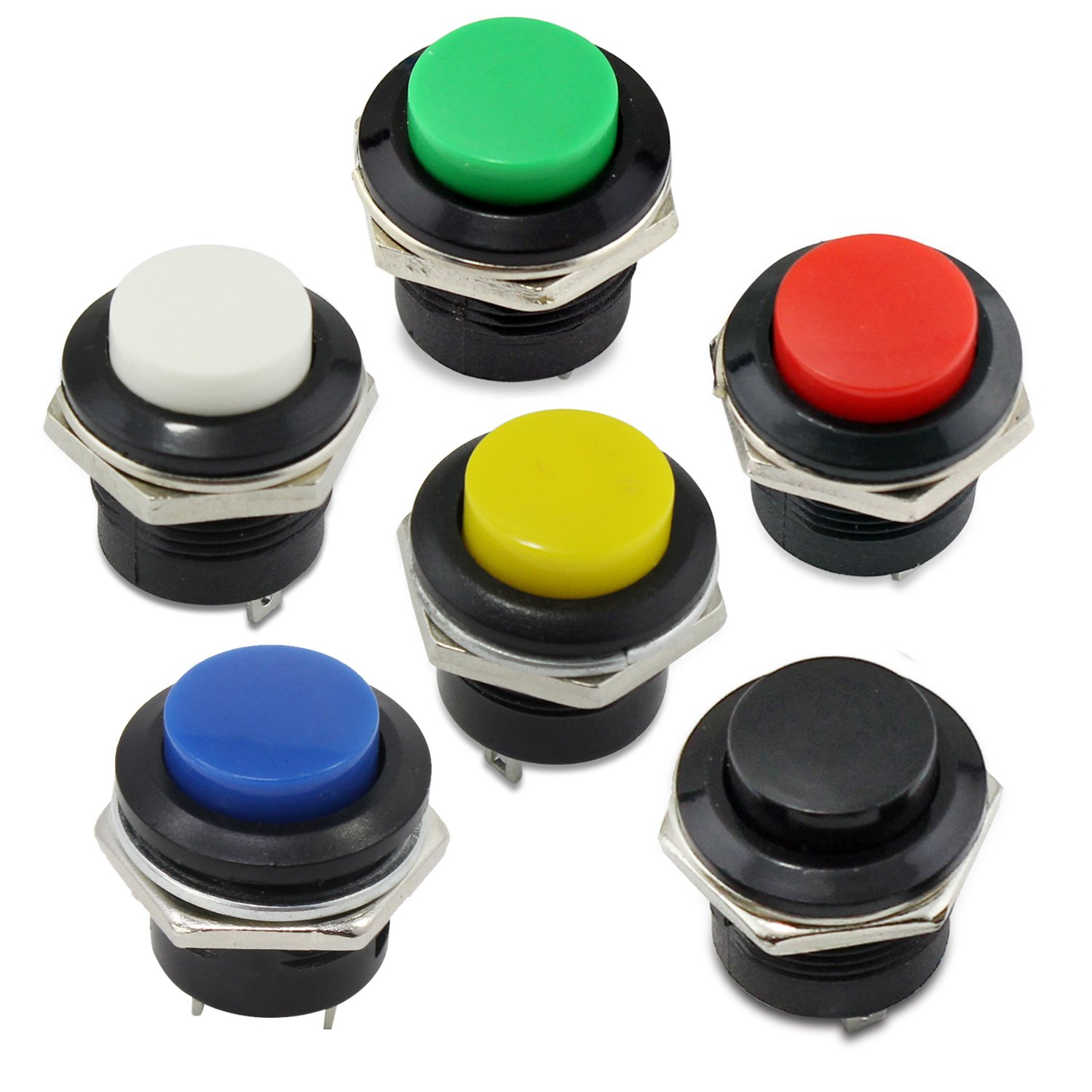 OcrAC 125V 6A AC 250V 3A Car Auto Momentary On/Off Switch Horn Switch For Car Push Round Button Switch 5pcs (White button) Ocrtech