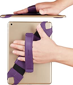 "Universal Tablet Hand Strap Holder, Joylink 360 Degrees Swivel Leather Handle Grip with Elastic Belt, Secure & Portable for Almost 10.1"" Tablets (Samsung Asus Acer Google Lenovo Kindle iPad), Purple"