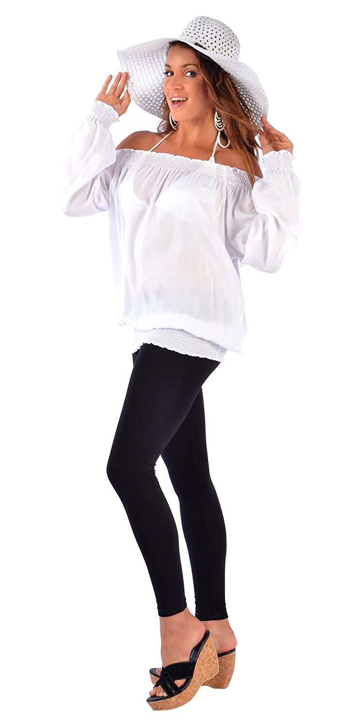 1 World Sarongs Womens Solid White Long Sleeve Top Cover-Up