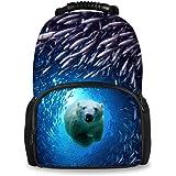 Coloranimal Under Animals Printed Children School Large Backpacks Kids Blue Bookbags