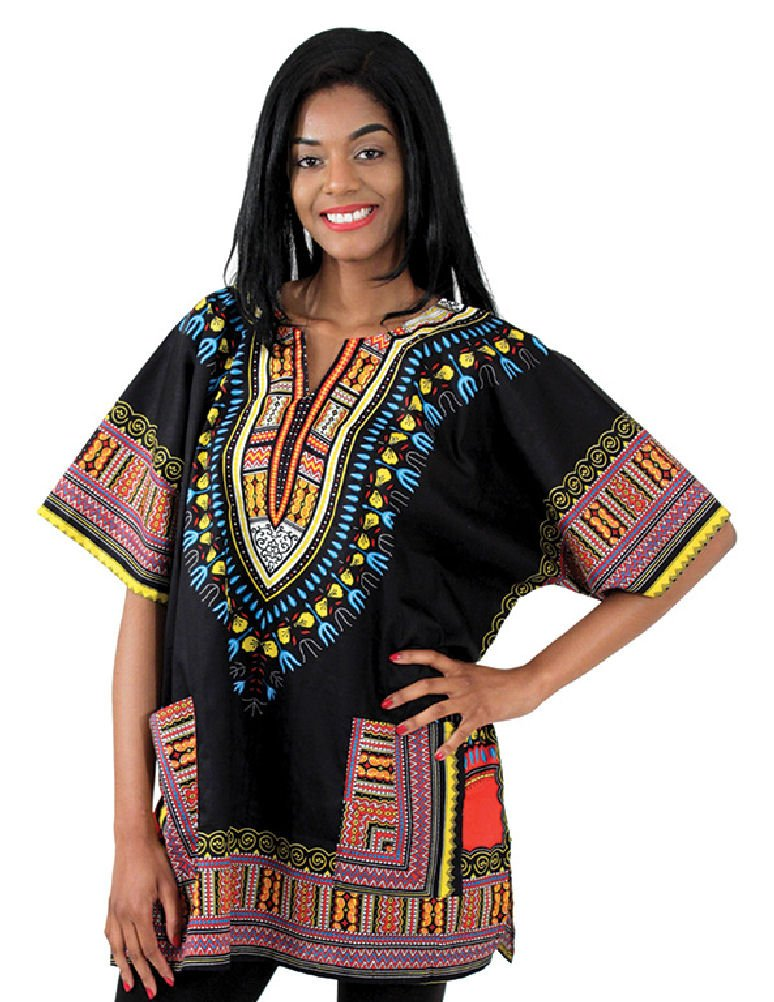 Traditional Thailand Style Dashiki - Available in Several Color Combinations (Black) by African Inspired Fashions (Image #1)