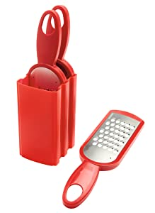Kuhn Rikon Swiss Grater Set of 3 with Storage Caddy, Red