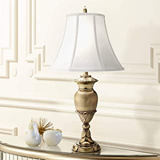 product image for Stiffel TL-N8451-BB One Light Table Lamp, Burnished Brass Finish with Pear Supreme Satin Shade