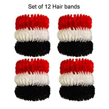 Amazon.com   Fancy Long Elastics Hair Rubber Bands Hair bands For Women And  Girls Fancy Hair Rubber Bands For Ponytail (Multi-Colour) (Set Of 12 pcs)    ... 60a1ec0e91f