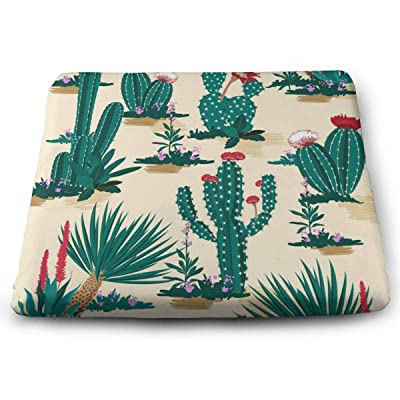 Yunshm Summer Cactus On Desert with Blooming Succulents Flower Solid Square Seat Cushion Bar Stool Office Chair Cushion Soft for Furniture Decoration Personalized: Home & Kitchen