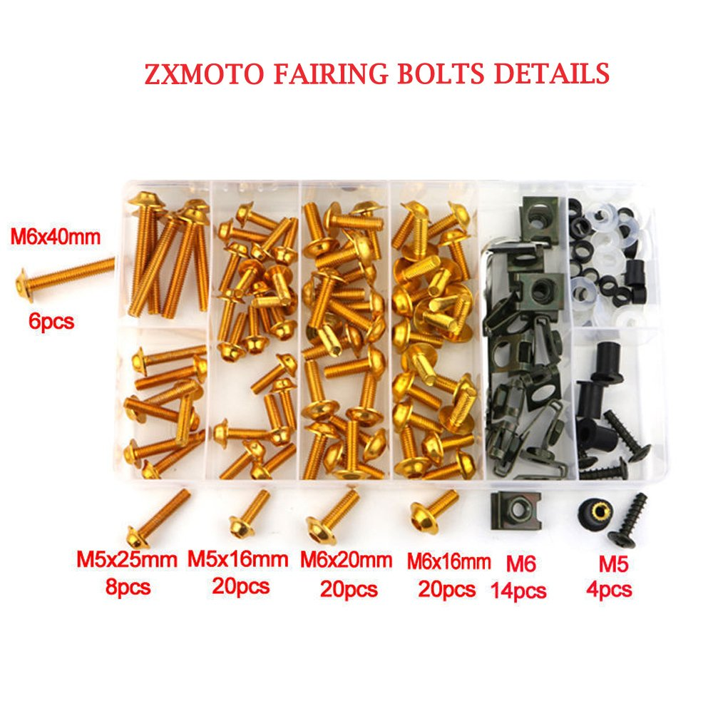 ZXMOTO Universal Motorcycle Black Aluminium Fairing Bolt Kit for Honda Kawasaki Suzuki Yamaha