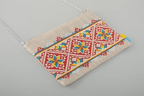 Étnico bordado de punto de cruz lino bolsa de embrague ...
