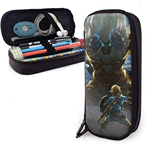 The Legend of Zelda Pencil Marker Stationery Organizer Pen Case Pouch Holder Box Travel Bag with Durable Zippers for Middle High School College Student & Office Girl Boy Adult-7.9x3.5x1.6 Inches