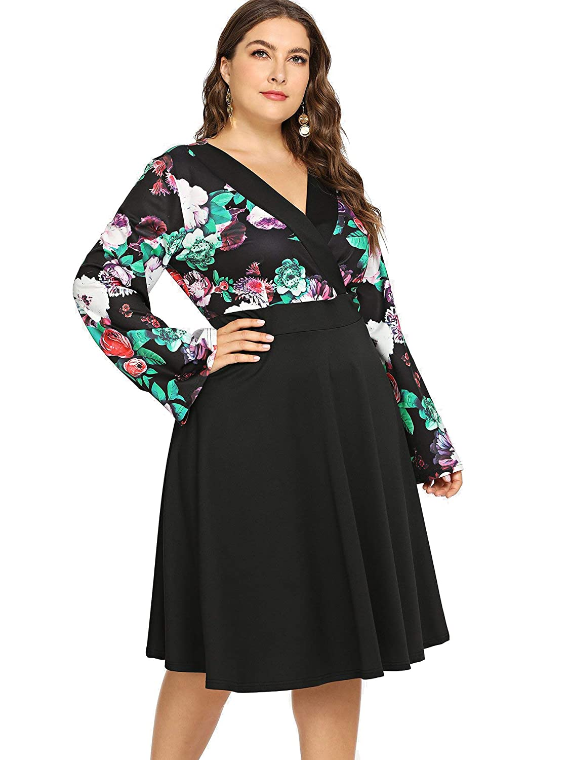 4788b11770e Amazon.com  Milumia Women Plus Size Floral Wrap V Neck Vintage Midi Dress  High Waist Party  Clothing