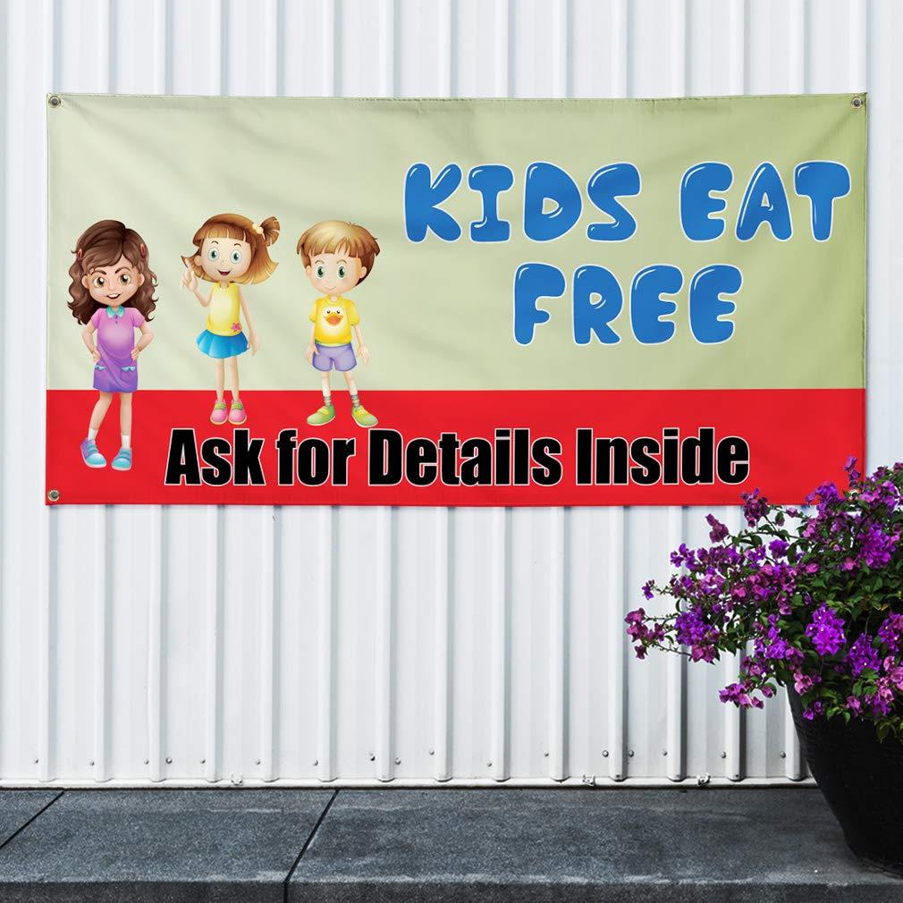 6 Grommets Vinyl Banner Sign Kids Eat Free Ask for Details Inside Marketing Advertising Green 32inx80in Set of 2 Multiple Sizes Available