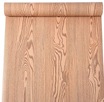 Self Adhesive Wood Grain Furniture Stickers PVC Wallpaper Cabinets Gloss  Film Vinyl Counter Top Decal 24inch