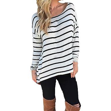 86e0b7a55eab Oberteile Damen Carmenbluse Blusen Langarmshirts Baggy T-Shirt Tops Hemd  Nadelstreifen Fashion Sommerbluse Modische Sommer