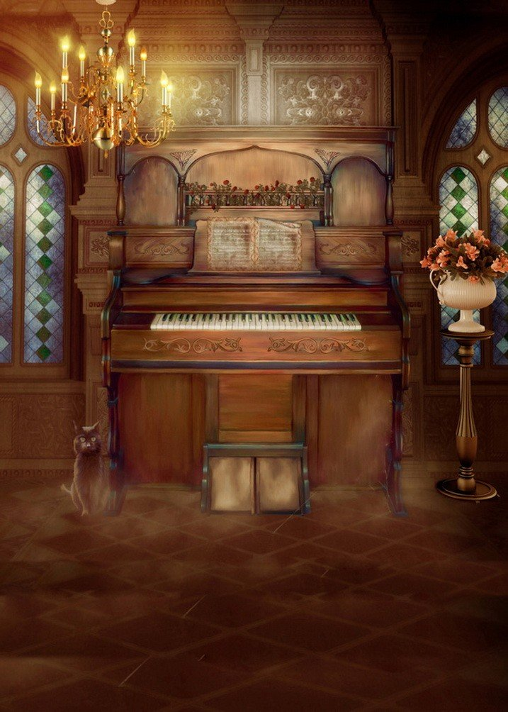 A Monamour Dimシャンデリアライトダークブラウン写真背景インドア部屋木製ピアノ写真の背景幕   B01KTO9L6A