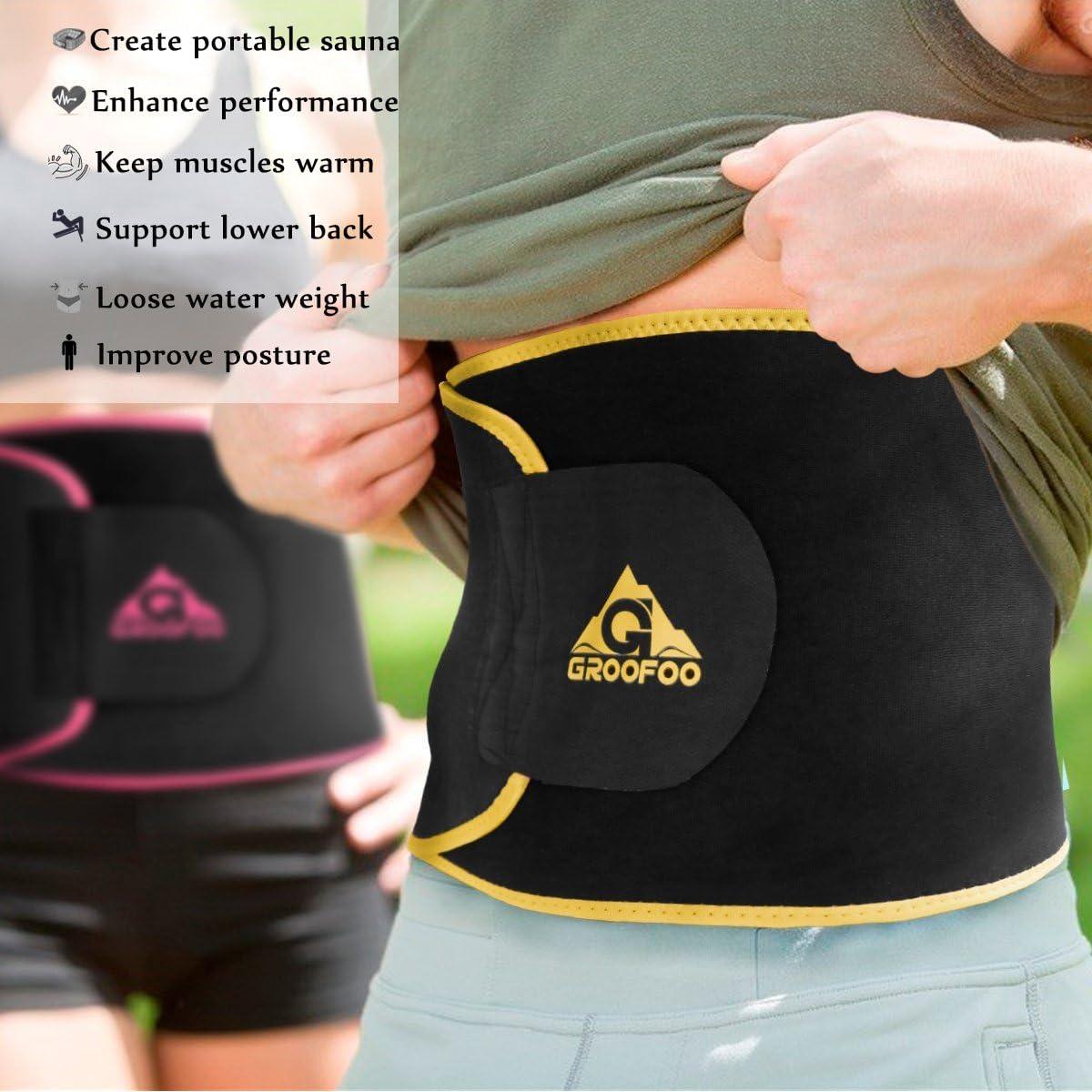 GROOFOO Waist Trimmer Belt Belly Slimming Belt with Waist Support Waist Trainer for Women /& Men Weight Loss
