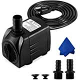CWKJ Fountain Pump, 400GPH Submersible Water Pump, Durable 25W Outdoor Fountain Water Pump with 6.5ft Power Cord, 3…