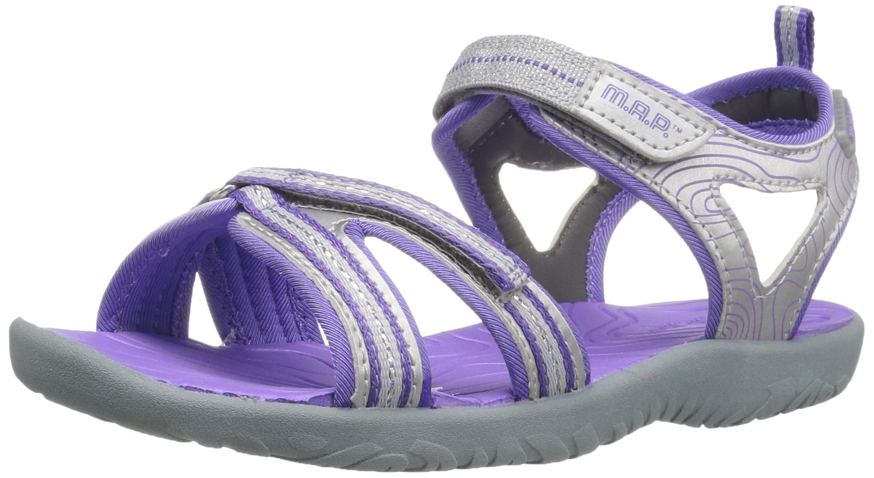 M.A.P. Lorna Girl's Outdoor Sandal, Silver/Purple, 2 M US Little Kid by M.A.P. (Image #1)
