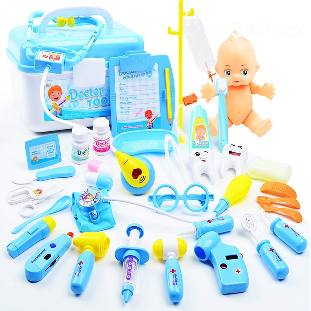Fstop Labs 34 Pack Set Kids Doctor Kit Play Toy, Pretend Play Dentist Medical Kit for Kids, Electronic Stethoscope Dentist Medical Kit Gifts Boy & Girl Educational Learning Role Play Random Style