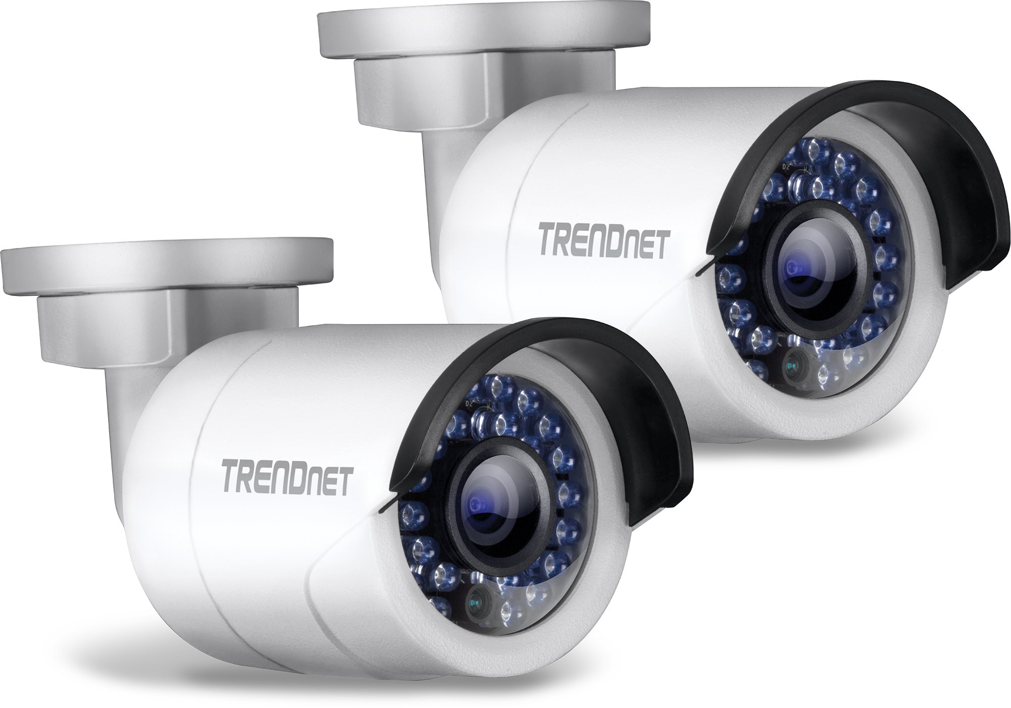 TRENDnet Indoor/Outdoor 1.3 Megapixel HD PoE IR Bullet Style Network Camera Twin Pack, Digital WDR, 720p, IP66 Rated Housing, 100ft. Night Vision, TV-IP320PI2K