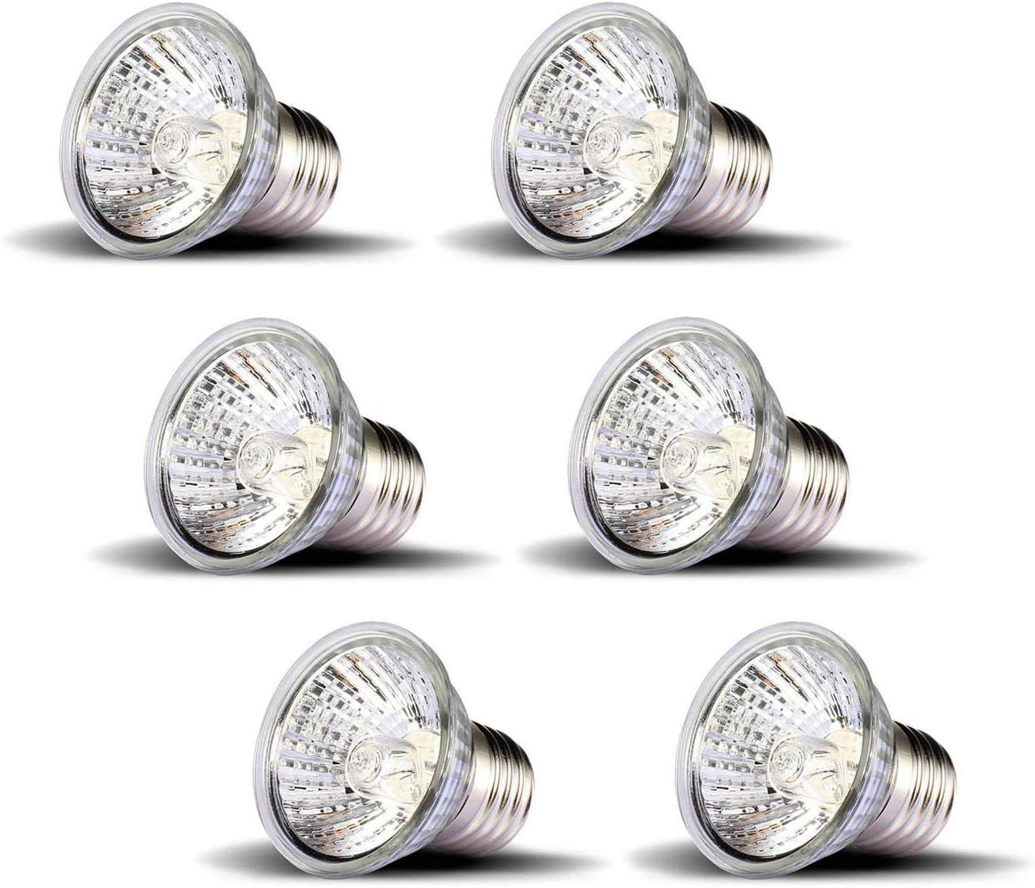 OMAYKEY 50W 6 Pack UVA + UVB Full Spectrum Sun Lamp Sunbathe Heat Lamp/Bulb/Light for Lizard Reptiles and Amphibians