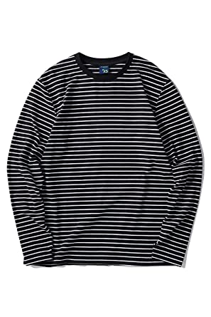 fe15b53ce7f97a Zengjo Men's Casual Cotton Spandex Striped Crewneck Long-Sleeve T-Shirt  Basic Pullover Stripe