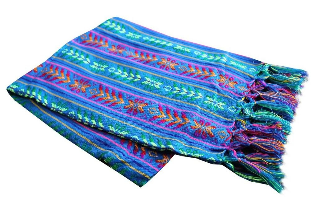 Del Mex Mexican Rebozo Shawl Blanket Doula (Regular (6 ft x 2.5 ft), Blue)