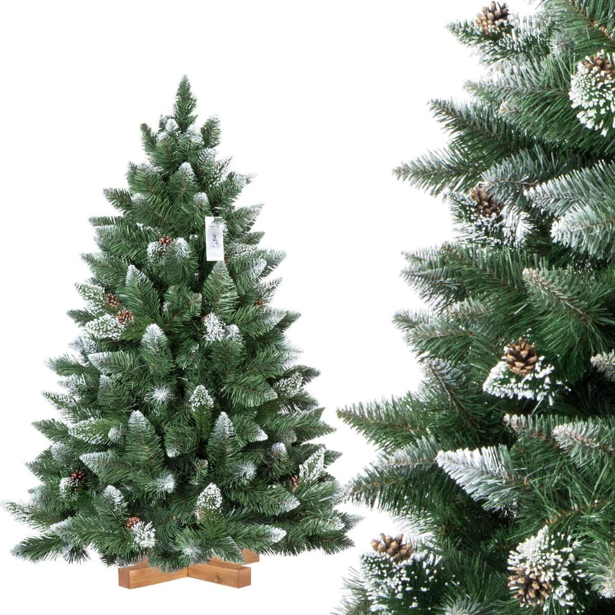 FairyTrees Árbol de Navidad Artificial, Pino Verde Natural Cubierto de Nieve, PVC, con piñas Naturales, Soporte de Madera, 120cm, FT04-120: Amazon.es: Hogar