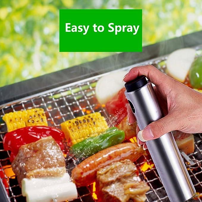 citmage alta calidad utensilios de cocina botella de aceite de oliva y vinagre pulverizador acero inoxidable trenzada para al aire libre barbacoa, ...