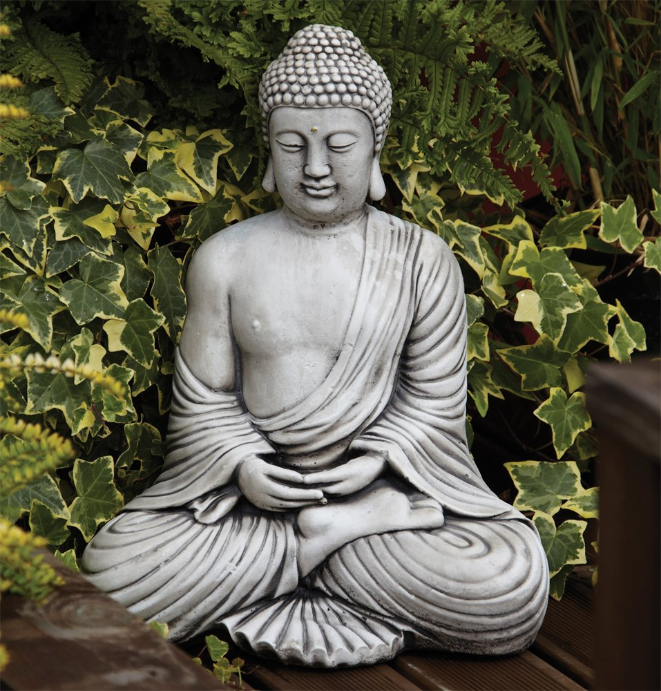 Detailed Stone Look Resin Buddha Garden Ornament Amazoncouk