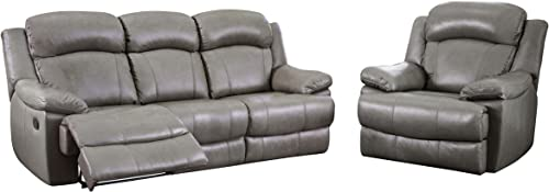 Abbyson Living Premium Top Grain Leather 2-Piece Reclining Sofa and Armchair Set, Grey