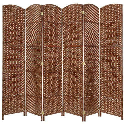 MyGift 6-Panel Diamond Design Woven Room Divider, Large Semi-Private Partition Screen - Design Divider Screen