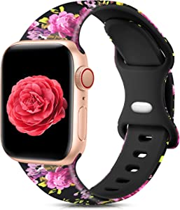 Ouwegaga Compatible with Apple Watch Band 44mm 42mm iWatch SE Series 6 5 4 3 2 1 Bands for Women Men,Fadeless Soft Silicone Floral Printed Pattern Wristbands Straps Pink Flower,S/M
