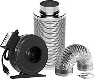 VIVOSUN Air Filtration Kit: 4 Inch 203 CFM Inline Fan, 4'' Carbon Filter and 8 Feet of Ducting Combo
