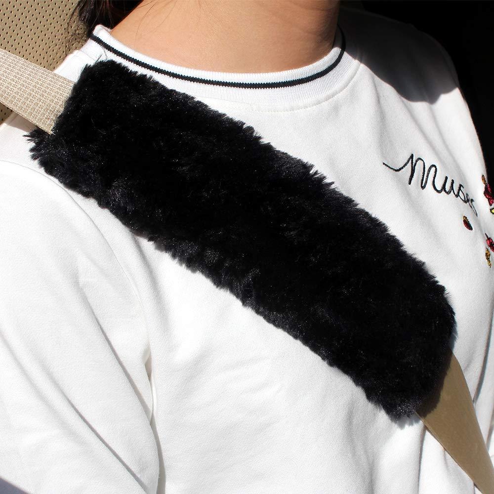 GAMPRO 4-Pack Black Auto Car Seat Belt Cover Plush