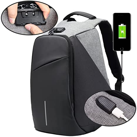 91caa5d40407 Image Unavailable. Image not available for. Color  BISON DENIM Mens  Backpack 15.6 Inch Laptop Backpack Anti Theft Combo Lock Travel Backpack  Waterproof ...