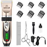 oneisall Dog Clippers Low Noise, 2-Speed Quiet Dog Grooming Kit Rechargeable Cordless Pet Hair Clipper Trimmer Shaver for Sma