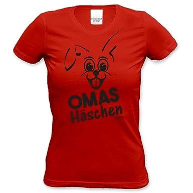 Lustige Damen Oster-Geschenke Idee / Girlie Tshirt mit Hasen Aufdruck Omas Häschen  Farbe: rot: Amazon.de: Bekleidung